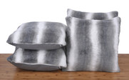 Beckie Stripe 4 Piece Faux Fur Pillow Shell Set With Micromink Back
