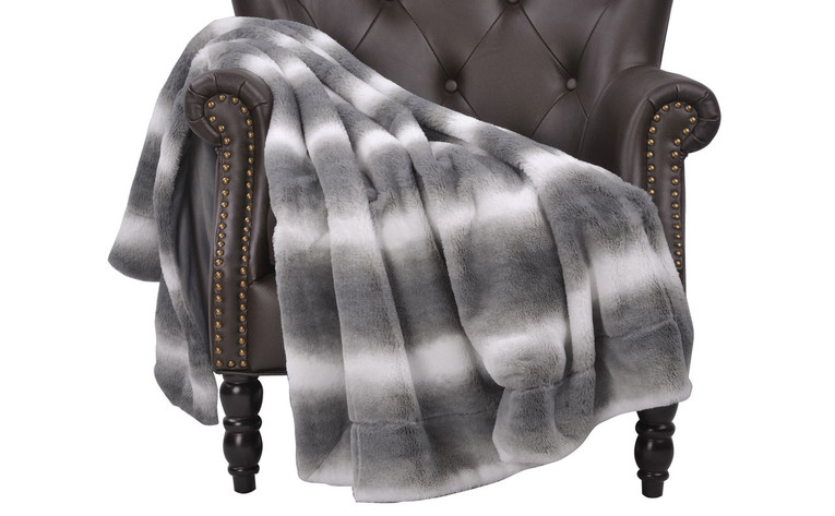 Beckie Stripe Faux Fur Throw Blanket With Micromink Back Grey Flannel