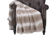 Beckie Stripe Faux Fur Throw Blanket With Micromink Back Pure Cashmere