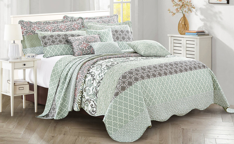 Royal Scroll 9 Piece Bedspread Set