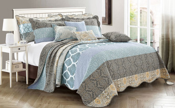 Floral Medalion 9 Piece Bed Spread Set