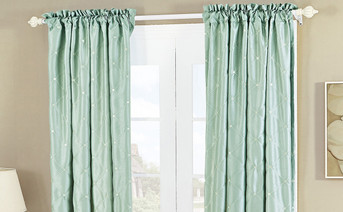 Doris Diamond Embroidery Faux Silk Curtain Set
