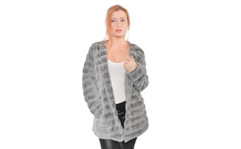 Super MInk Faux Fur Coat Silver