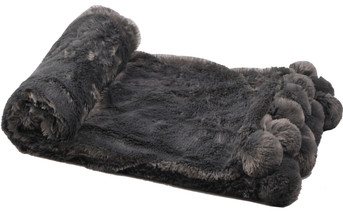 Pom Pom Faux Fur Throw Blanket Charcoal