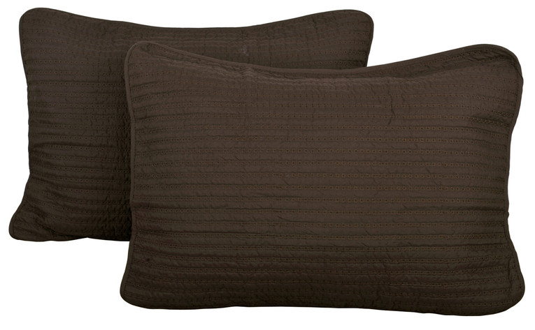 2 Piece Brockton Quilted Sham Set - Chocolate