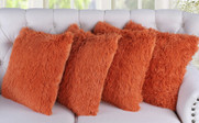 4 Piece Shaggy Throw Pillow Shell Set