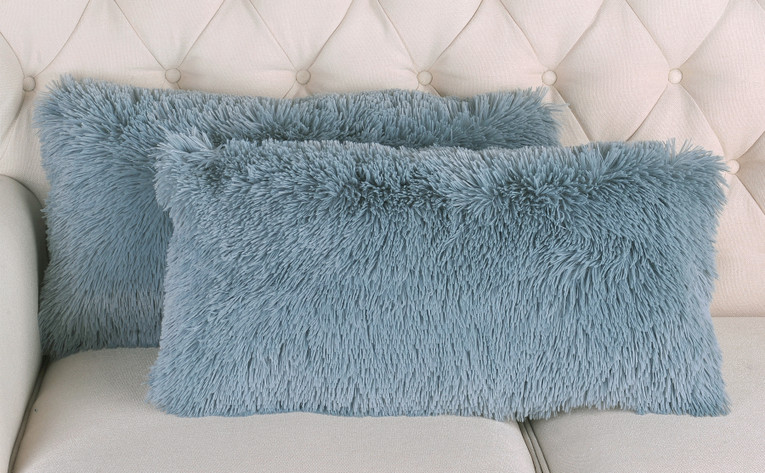 2 Piece Shaggy Lumbar Pillow Shell Set