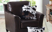 Cow Printed Faux Fur 2 Piece Pillow Shells On Chair