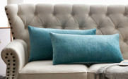 "Tanga Jacquard Chenille Throw Pillow Shells 14"" x 26"" - Turquoise"