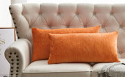 "Tanga Jacquard Chenille Throw Pillow Shells 14"" x 26"" - Burnt Orange"