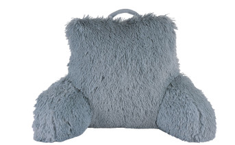 Shaggy Faux Fur Bed Rest Pillow - Silver Blue