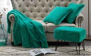 Solid Faux Fur Throw, Pillow Shells, and Ottoman 4 Piece Set