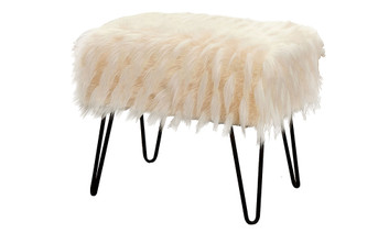 Feathery Faux Fur Ottoman - Ivory