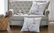 Cherry Blossom Embroidery 2 Piece Pillow Shell Set
