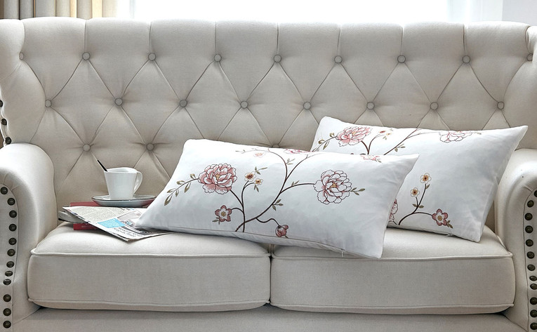 Spring Flower Embroidery Canvas Pillow Shells Sets