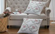 Rose Embroidery Canvas Pillow Shells 2 Piece Sets