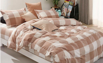 Gingham Washed Cotton Duvet Cover Set