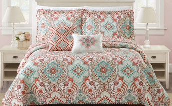 Bennington Damask Coverlet Set