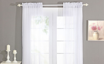Solid Voile Curtain Set