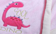 Cool Dino Embroidered Flannel Baby Blanket
