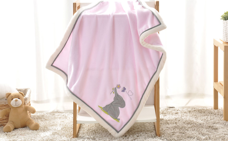 Elephant Embroidered Flannel Baby Blanket