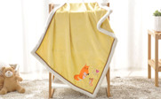 Fox Embroidered Flannel Baby Blanket