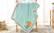 Mermaid Embroidered Flannel Baby Blanket