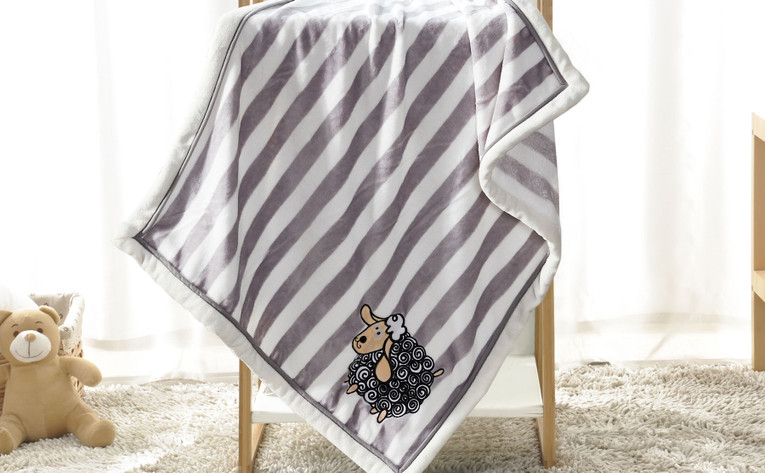 Sheep Embroidered Flannel Baby Blanket