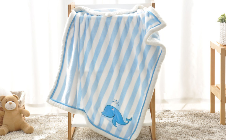 Whale Embroidered Flannel Baby Blanket