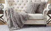 Mongolian Faux Fur Throw and Pillow Shells Sets