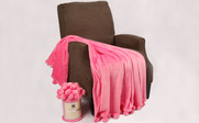 Festival Fushia Pink Pom Pom Flannel Fleece Throw
