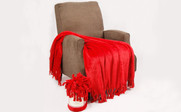 Chili Pepper Red Rope Braided Flannel Fleece Throw