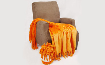 Burnt Orange Rope Braided Flannel Fleece Throw