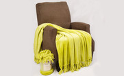 Oasis Green Rope Braided Flannel Fleece Throw