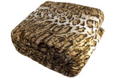Natural Leopard Animal Safari Printed Flannel Fleece Blanket Detail Up Close