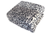 Black White Snow Leopard Animal Safari Printed Flannel Fleece Blanket Detail Up Close
