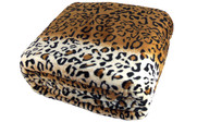 Fusion Snow Leopard Animal Safari Printed Flannel Fleece Blanket Detail Up Close