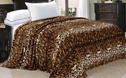 Natural Leopard Animal Safari Printed Flannel Fleece Blanket