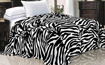 Zebra Print Animal Safari Printed Flannel Fleece Blanket