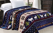 Blue Christmas Reindeer Snowflake Flannel Fleece Blankets