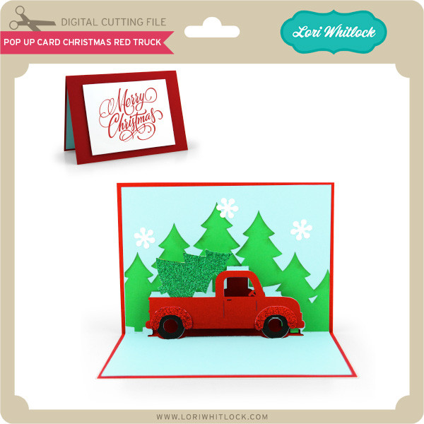 Christmas Red Truck.Pop Up Card Christmas Red Truck