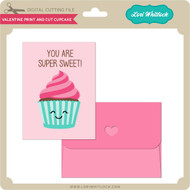 Valentine Print and Cut Cupcake