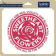 Valentine Label Sweetheart Flowers