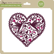 Love Heart Birds in Frill Tree