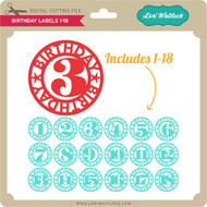 Birthday Labels 1-18