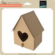 Birdhouse With Heart Window And Scallop Edge