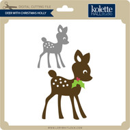 Deer with Christmas Holly