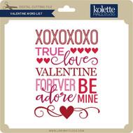 Valentine Word List 2
