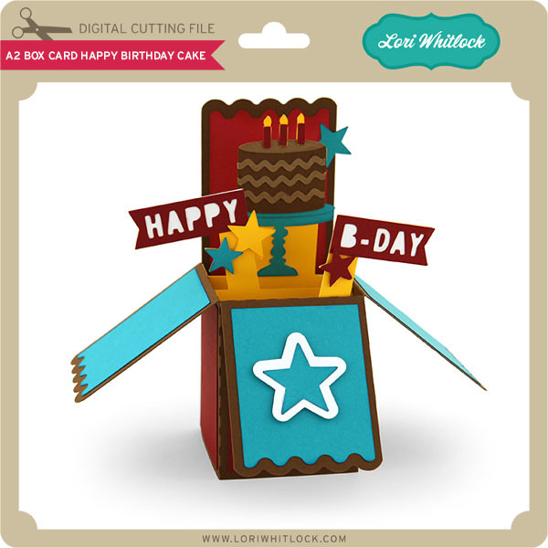 A2 Box Card Happy Birthday Cake Lori Whitlock S Svg Shop