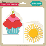 A2 Shaped Card Set Cupcake Sun